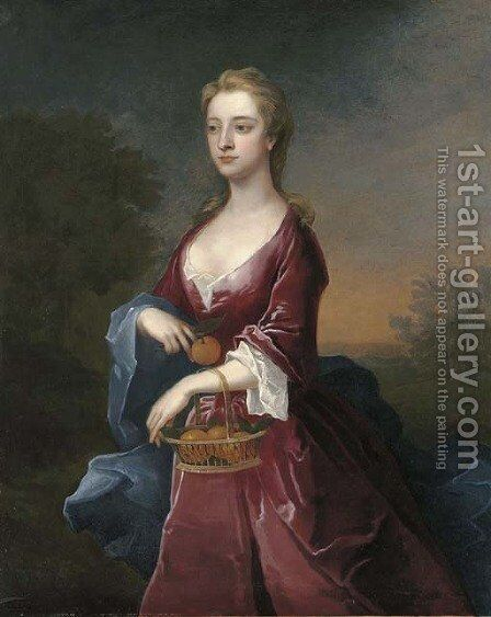 Portrait of the Hon. Mary Digby, three-quarter-length, in a maroon dress and blue wrap, holding a basket of oranges on her left arm by Charles Jervas - Reproduction Oil Painting