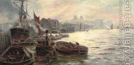 The busy docks at Greenwich by Charles John de Lacy - Reproduction Oil Painting