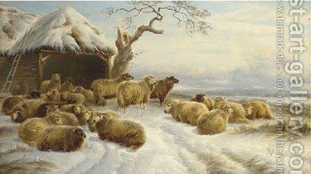 Sheep in a winter landscape by Charles Jones - Reproduction Oil Painting