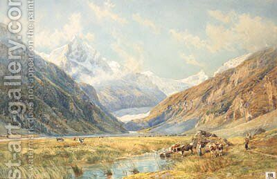 Figures and Cattle in an Alpine Meadow, Zinal by Charles Jones Way - Reproduction Oil Painting