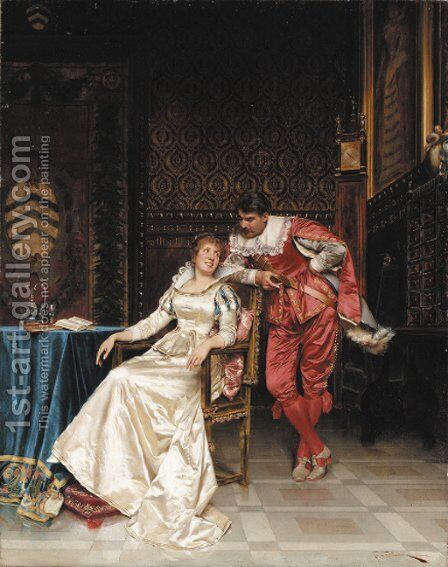 A Welcome Distraction by Charles Joseph Frederick Soulacroix - Reproduction Oil Painting