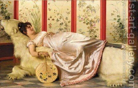 A Quiet Moment by Charles Joseph Frederick Soulacroix - Reproduction Oil Painting