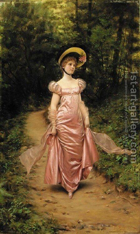 The Afternoon Stroll by Charles Joseph Frederick Soulacroix - Reproduction Oil Painting