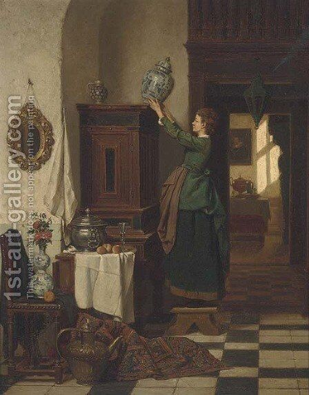 Spring cleaning by Charles Joseph Grips - Reproduction Oil Painting