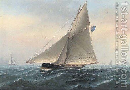 The racing cutter Galatea off the Fastnet Rock, 1885 by Charles Keith Miller - Reproduction Oil Painting