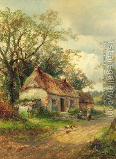 Resting before the cottage by Charles L. Shaw - Reproduction Oil Painting