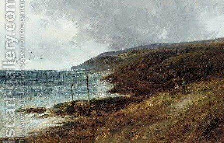 Resting by a coastal path by Charles L. Shaw - Reproduction Oil Painting