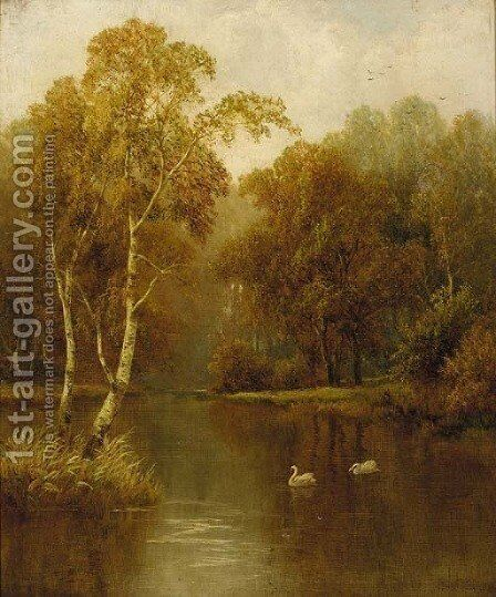 Swans in a wooded river landscape by Charles L. Shaw - Reproduction Oil Painting