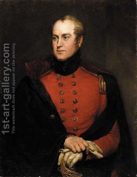 Portrait of a gentleman, said to be Lt. Col. Charles Richard Fox (1796-1873), three-quarter length, seated, in uniform by Charles Landseer - Reproduction Oil Painting