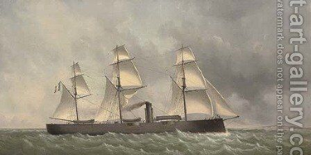 A French ironclad turret ship under sail and steam off the coast by Charles Leduc - Reproduction Oil Painting