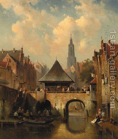 A cappricio view of Utrecht by Charles Henri Leickert - Reproduction Oil Painting
