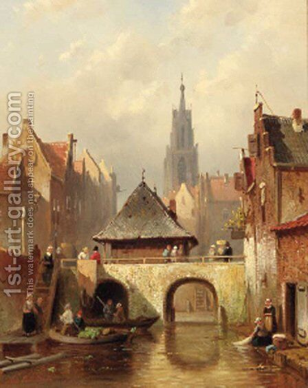 A capriccio view of Utrecht by Charles Henri Leickert - Reproduction Oil Painting