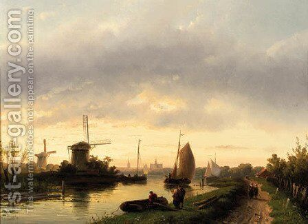 A river landscape at dusk, with Haarlem in the distance by Charles Henri Leickert - Reproduction Oil Painting