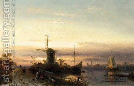 A river landscape with figures on a path at dusk, a town beyond by Charles Henri Leickert - Reproduction Oil Painting