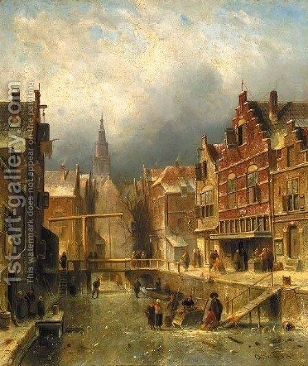 A townview in winter with figures on a frozen canal by Charles Henri Leickert - Reproduction Oil Painting
