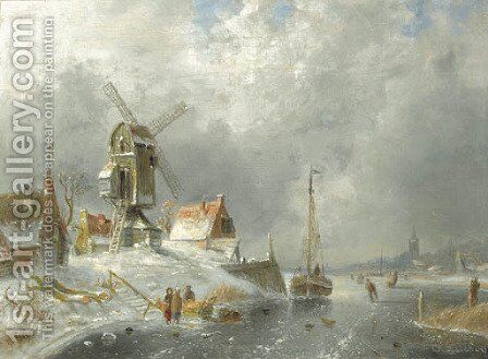 A winter landscape with figures on the ice by Charles Henri Leickert - Reproduction Oil Painting