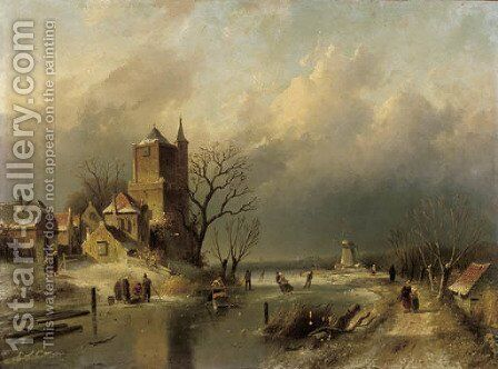 A winter landscape with skaters on a frozen river by a stronghold by Charles Henri Leickert - Reproduction Oil Painting
