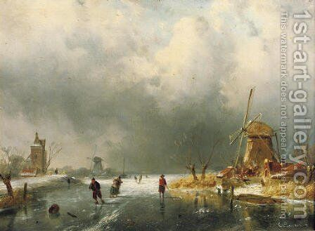 A winters day by Charles Henri Leickert - Reproduction Oil Painting
