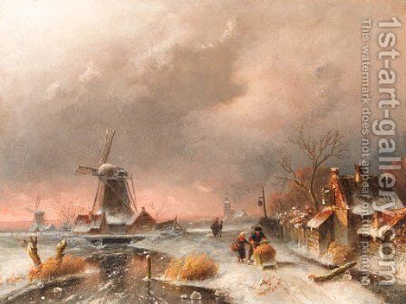 An evening winter landscape with windmills by Charles Henri Leickert - Reproduction Oil Painting