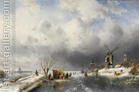 At the 'koek en zopie' in a panoramic winter landscape by Charles Henri Leickert - Reproduction Oil Painting