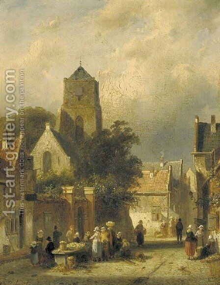 Dutch street scene by Charles Henri Leickert - Reproduction Oil Painting