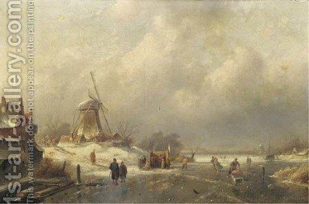 Figures and a koek en zopie on the ice by a windmill by Charles Henri Leickert - Reproduction Oil Painting