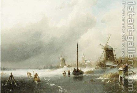 Figures on a frozen river, with windmills beyond by Charles Henri Leickert - Reproduction Oil Painting