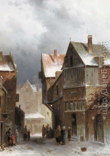 Figures on a street in winter by Charles Henri Leickert - Reproduction Oil Painting