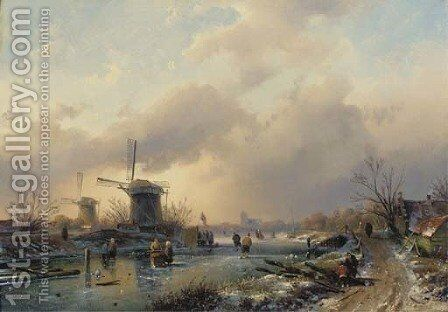 Figures on the ice by a koek en zopie, a country road leading to a town in the distance by Charles Henri Leickert - Reproduction Oil Painting