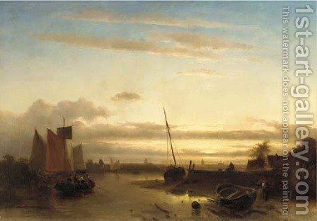 Low tide on the estuary by Charles Henri Leickert - Reproduction Oil Painting