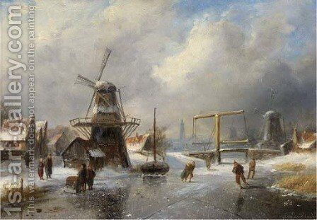Overtoom bij Amsterdam skaters on a frozen canal by Charles Henri Leickert - Reproduction Oil Painting