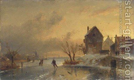 Skaters on a frozen river at dusk by Charles Henri Leickert - Reproduction Oil Painting
