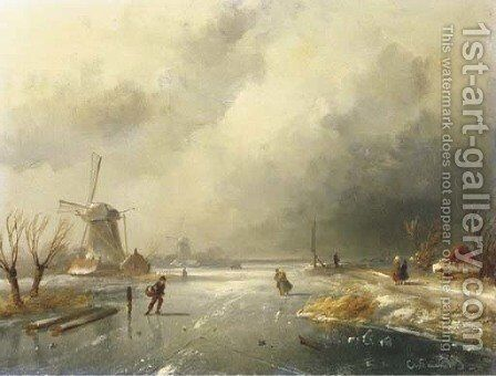 Skaters on a frozen river by Charles Henri Leickert - Reproduction Oil Painting