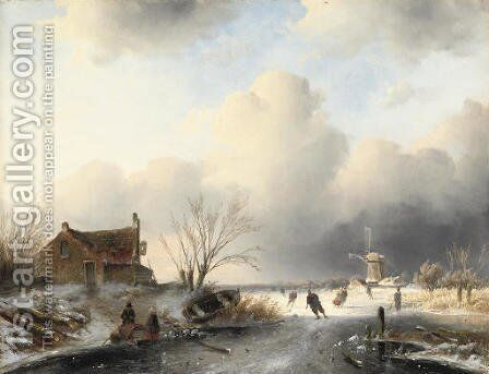 Skaters on a frozen waterway by Charles Henri Leickert - Reproduction Oil Painting