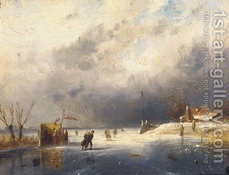 Skaters on the ice by a koek en zopie by Charles Henri Leickert - Reproduction Oil Painting