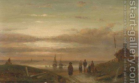 Sunset on the beach by Charles Henri Leickert - Reproduction Oil Painting