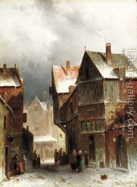 Townsfolk on a snowy street by Charles Henri Leickert - Reproduction Oil Painting