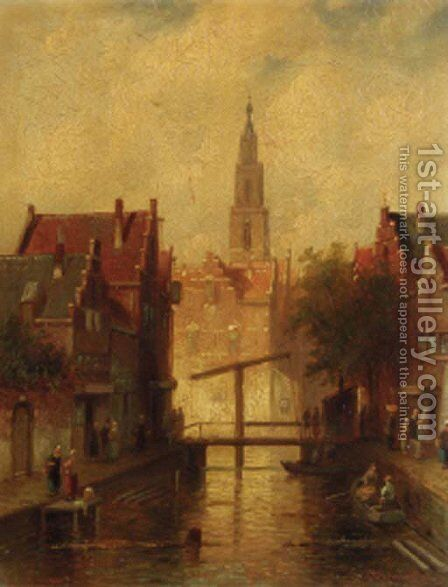 View in a city by Charles Henri Leickert - Reproduction Oil Painting