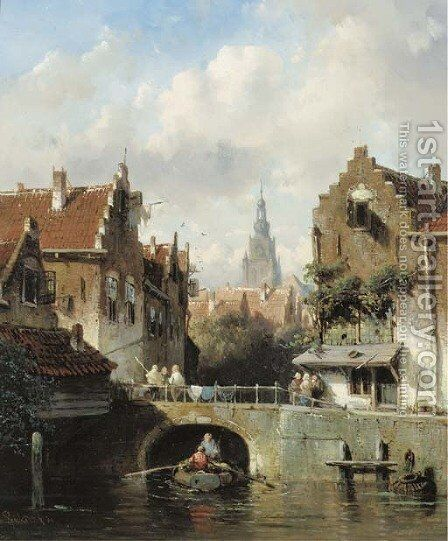 View of a canal in a Dutch town by Charles Henri Leickert - Reproduction Oil Painting