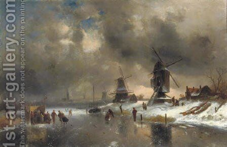 Windmills along a frozen waterway with a 'koek en zopie' by Charles Henri Leickert - Reproduction Oil Painting