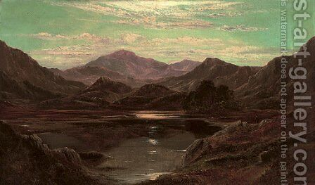 A loch landscape by moonlight by Charles Leslie - Reproduction Oil Painting