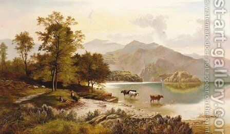Figures resting by a lake with cattle watering in a mountainous landscape by Charles Leslie - Reproduction Oil Painting