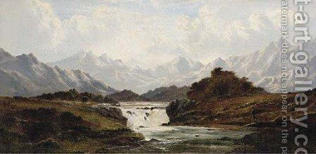 The falls of Ericht, Perthshire by Charles Leslie - Reproduction Oil Painting