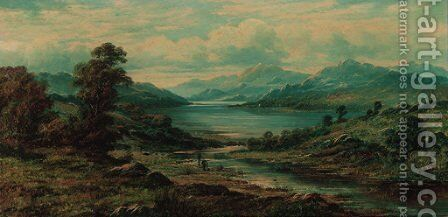 Anglers in a loch landscape by Charles Leslie - Reproduction Oil Painting