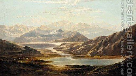 Sunset over the Loch by Charles Robert Leslie - Reproduction Oil Painting