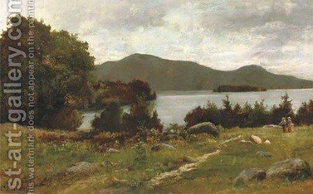 September morning on Lake George across from west end of 'Sagamore bridge' to Buck and Pilot Mountains, New York by Charles Linford - Reproduction Oil Painting