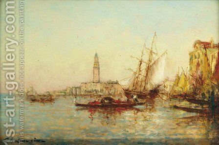 A gondola on a Venetian canal by Charles Cousins - Reproduction Oil Painting