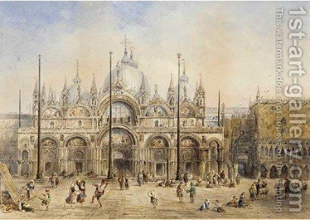 A summer festival in St Mark's square, Venice by Charles M. MacArthur - Reproduction Oil Painting