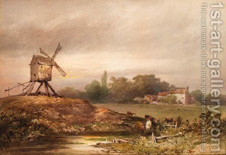 Cattle beside a lake in a landscape with a windmill by Charles M. MacArthur - Reproduction Oil Painting