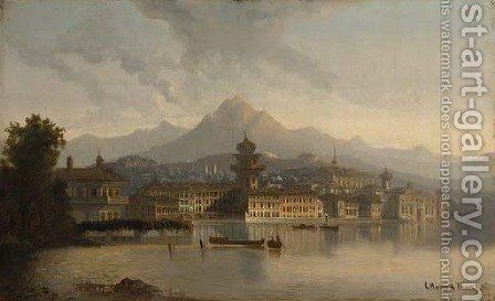 A capriccio view of a town on a lake by Charles Marchand - Reproduction Oil Painting